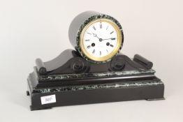 A French marble mantel clock marked Wilson & Gandar 392 Strand Fabrique de Paris