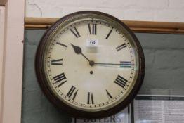"A late 19th Century oak 12"" fusee wall clock"