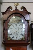 A North Country early Victorian mahogany inlaid long case clock,