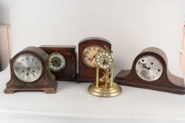 Five assorted oak and brass mantel clocks (as found)