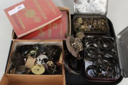 Assorted clock spares and parts plus Southern W/C Supplies books