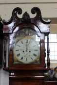 An early Victorian North Country mahogany long case clock, 8 days duration, with painted arch dial,