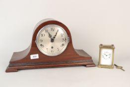 A brass carriage clock plus an oak mantel clock