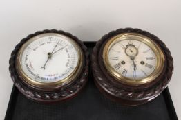 An American ships clock by Ansonia plus a similar cased barometer