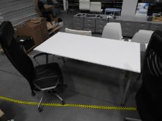 *Contemporary Style White Office Table with High Back Faux Leather Gas Lift Office Chair with Mesh B