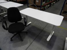 *Contemporary Style White Adjustable Height Desk with Office Chair