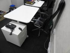 *Contemporary Style Height Adjustable Desk with Stand Alone Three Drawer Pedestal and High Back Offi