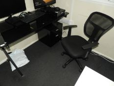 *Black Glass Contemporary Style Single Pedestal Desk with Right Hand Drawer Pedestal and Chair