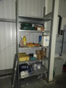 *Section of Galvanised Racking Containing Assorted Janitorial Supplies etc
