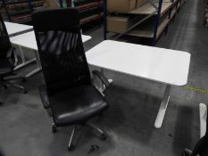 *Contemporary Style White Adjustable Height Desk with High Back Faux Leather Chair