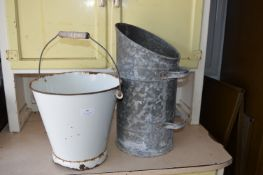 White Enamel Vintage Bucket and a Coal Scuttle