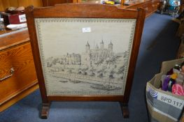 Vintage Firescreen with Embroidery of the Tower of