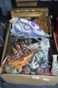 Box of Household Goods Including Electric Iron, Fr