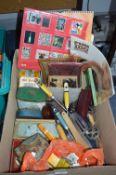 Box of Collectibles, Tins, Calendars, Kitchen Uten