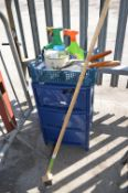 Blue Plastic Chest of Drawers, Weed Killer, Brush,