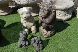 Garden Ornaments; Teddy Bear, Money and a Pair of