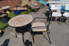 Mosaic Effect Garden Table and Two Matching Chairs