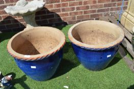 Pair of Large Blue Garden Planters