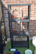 Four Height Black Plastic Storage Shelves etc.