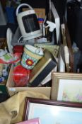 Two Boxes of Household Goods, Framed Prints, etc.