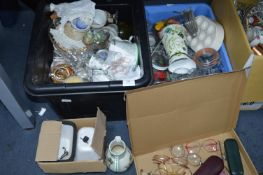 Two Tubs of Kitchenware, Wine Glasses, Pottery, etc.