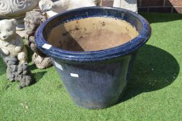 Large Blue Ceramic Garden Planter