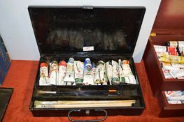 Large Winsor & Newton Vintage Metal Artists Case Containing Oil Paints & Brushes