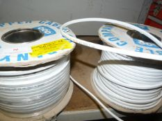 Two Spools of 1.5x1mm White/Brown Cable