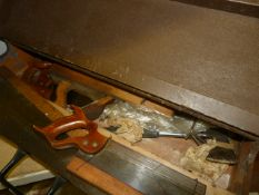 Wooden Toolbox Containing Saws Block Plane, etc.