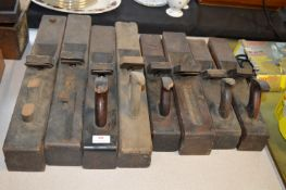 Eight Wooden Jack Planes