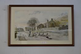 Framed Print by Alan Ingham of a Dales Village - Sheep Herding Scene