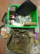 Box of Tools, Nails, Electrical Items and Fittings