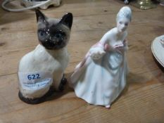 Beswick Cat and a Royal Doulton Figurine - Dianna