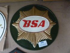 *Reproduction Metal BSA Sign