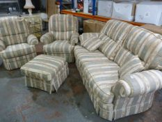 Three Piece Suite with Pouffe
