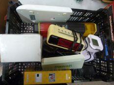 Box of Electricals Including Clocks, Cameras, Scales etc