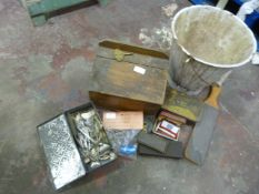 Enameled Bucket, Small Pine Box and Small Collection of Collectables