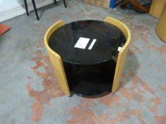 *Black Glass & Oak Effect Round Coffee Table