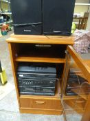 G Plan Hifi Cabinet with Panasonic Music System including Record Deck, Amp, Radio and Twin Cassette