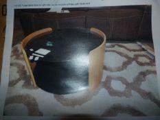 *Large Black Glass & Light Oak Circular Occasional