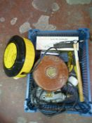 Small Box of Tools including Tape, Electric Scissors, Drill etc