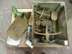 Two Sets of Scales, Pine Crate, Castrol Oil Can etc