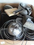 Box of Assorted Kitchenware, Baking Trays, Pans, e