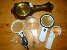 Barometer and Five Magnifying Glasses