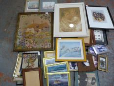 Woolwork Picture and a Quantity of Frames and Prin