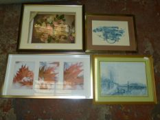 3D Floral Picture & Three Prints