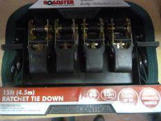 *Roadster 15ft Ratchet Tie Down Set