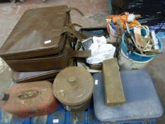 Misc Pallet including Cases, Petrol Cans, Drill, Tools, Coal Buckets etc