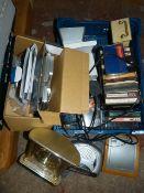 Box of Cassette Tapes, Clocks, Calculator etc