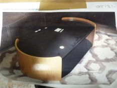 *Black Glass & Pale Wood Occasional Table